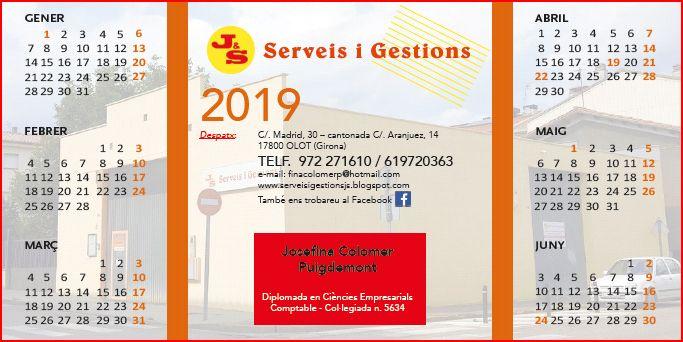 Calendari 2019  primer semestre