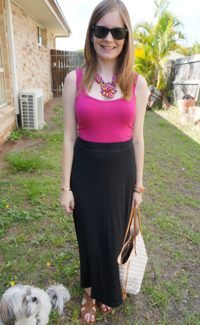 Australian Summer Outfit statement necklace pink tank jersey maxi skirt