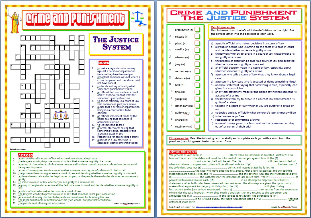 Printables Criminal Law Worksheets around the world in english crime and punishment justice system there is a crossword puzzle first worksheet second contains matching exercise cloze exercise