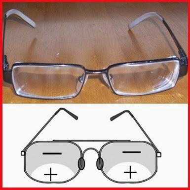 kacamata bifokal (lensa rangkap) untuk menanggulangi presbiopi (mata tua)