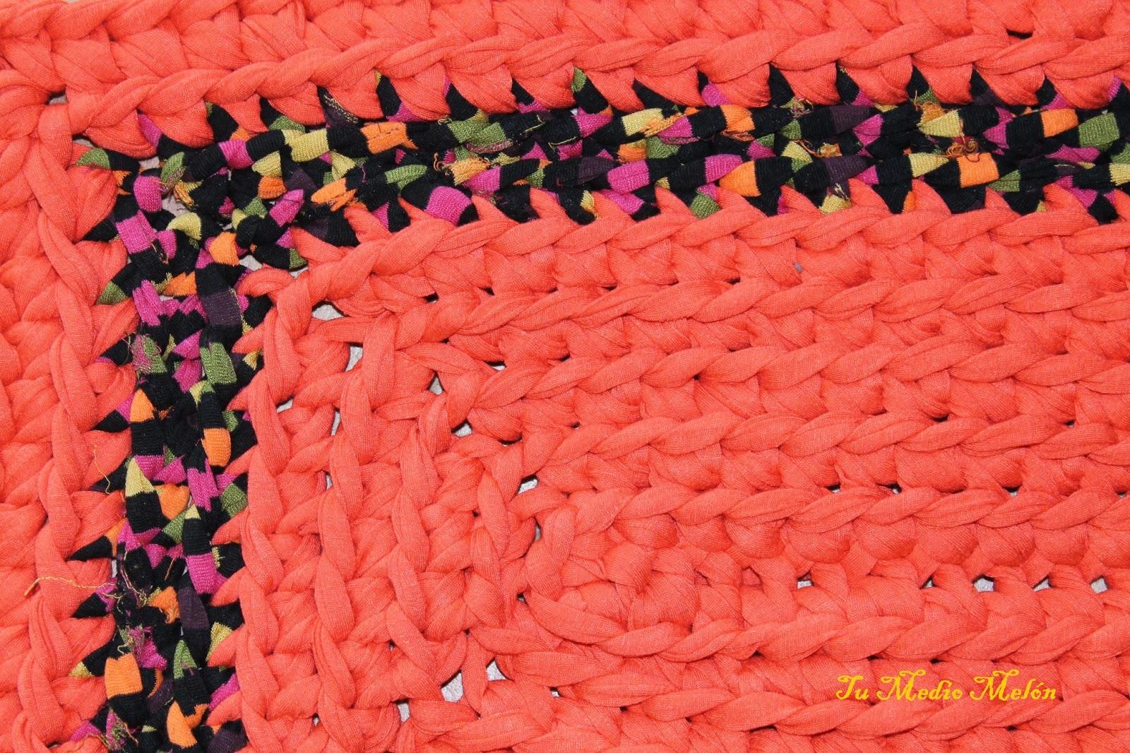 Tu medio mel n alfombra rectangular color salm n - Alfombra de trapillo cuadrada ...