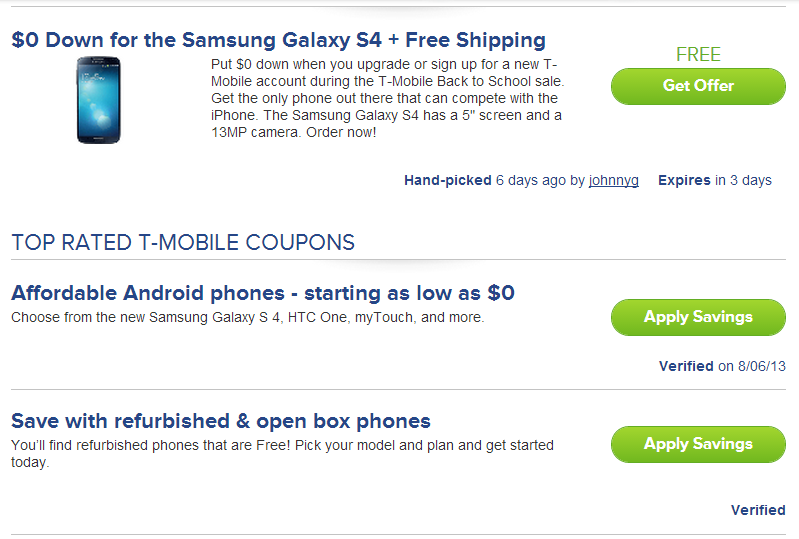 T mobile coupon code