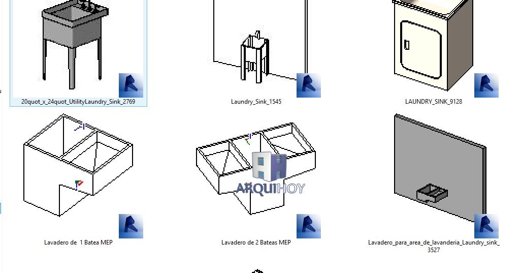 Coleccion lavaderos rfa mep arquihoy revit for Planos de cocina lavadero