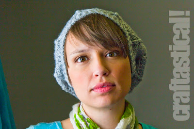 Gray Grace Lace Beret slouchy knit hat