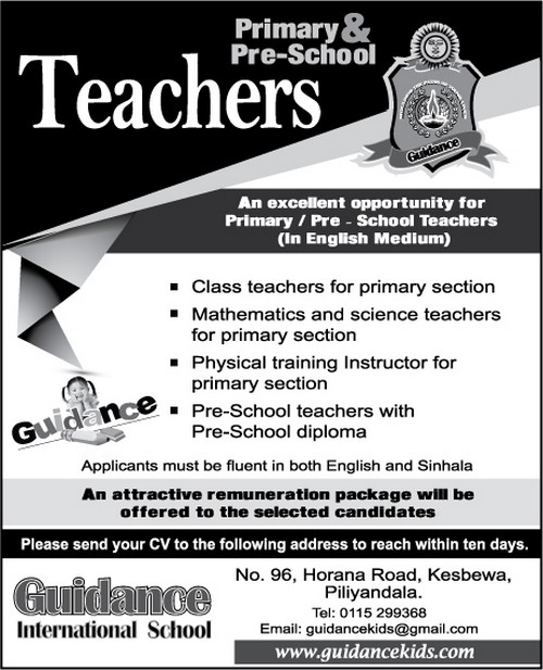 Vacancies For Primary And Pre School Teachers At Guidance International School