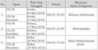 POS Dan Jadwal Ujian Sekolah Tahun 2016