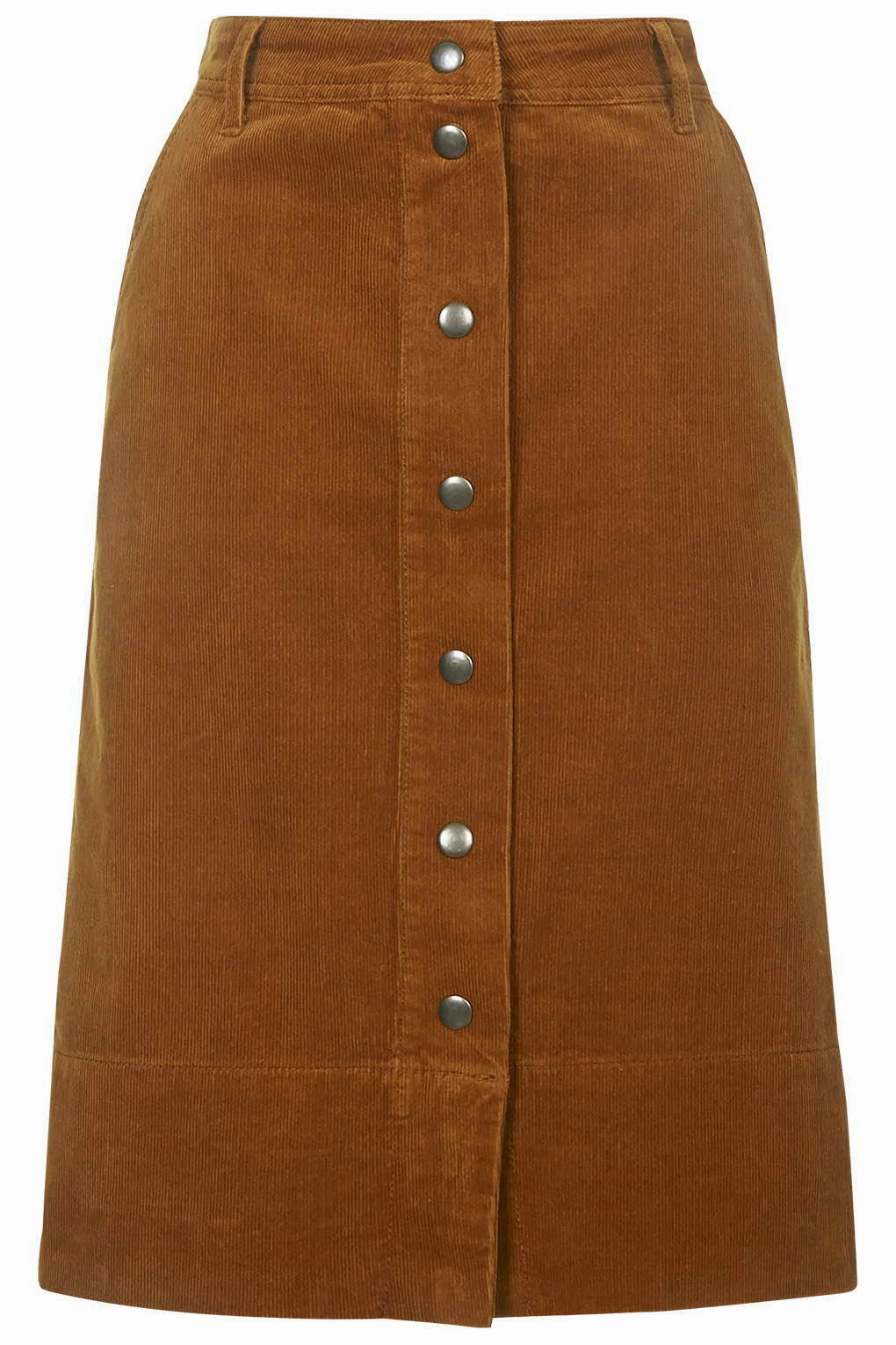 brown cord midi skirt, brown button midi skirt,