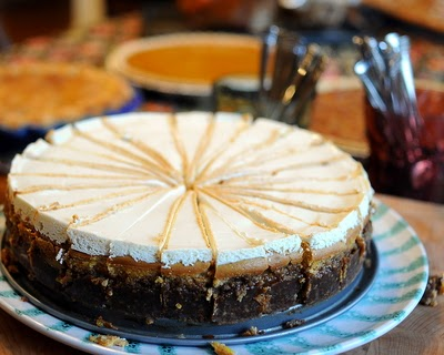 Pumpkin Cheesecake, full-size or mini, barely sweet with ginger-pecan crust and bourbon, real crowd pleaser. Recipe, tips, WW points at #KitchenParade.