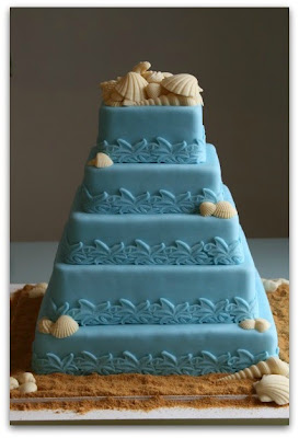 blue ocean themed wedding cake