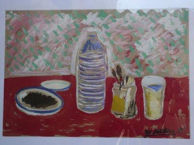 Bodegón de la botella de Agua por Miguel Medina, Villanueva de los Infantes, Campo de Montiel, Ciudad Real, Castilla la Mancha, España