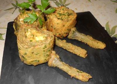 Alcachofas con gabardina rellenas de tofu y feta