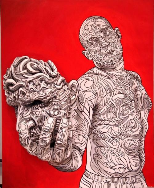 Marchal Mithouard Shaka pintura escultura grafite 3d psicodelico