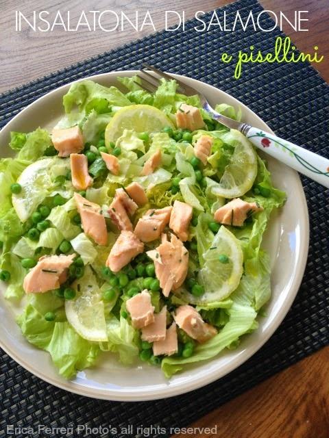 Ricetta insalatona con salmone e pisellini