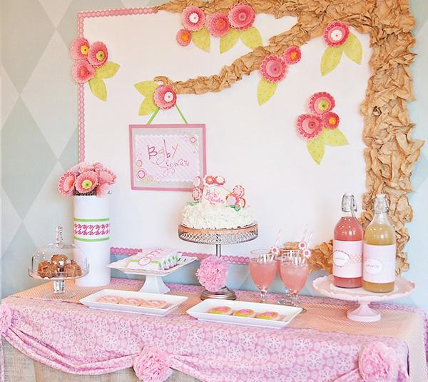 Frugal home design diy baby shower decor ideas - Pink baby shower table decorations ...