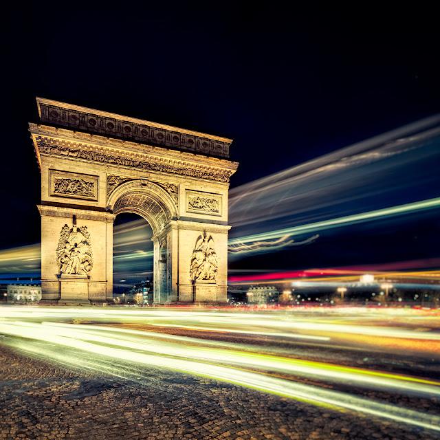 paris,france,arc,triomphe,night,light,traffic,long,exposure