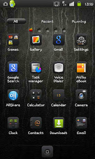 Screenshots of the iPhone Black Go Launcher for Android mobile, tablet, and Smartphone.