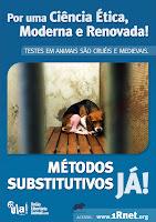 Cartaz em prol de métodos substitutivos aos testes em animais