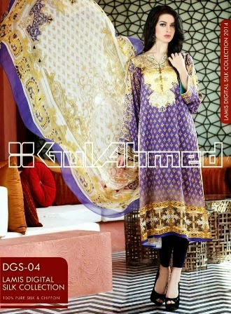 Purple Digital Printed Silk Dresses