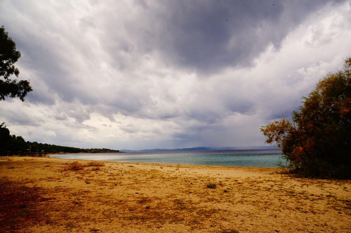 Пляж-Греции-Октябрь