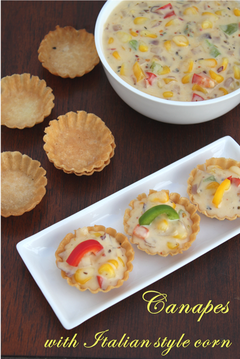 Jaya 39 s recipes canapes with italian style corn for Italian canape ideas