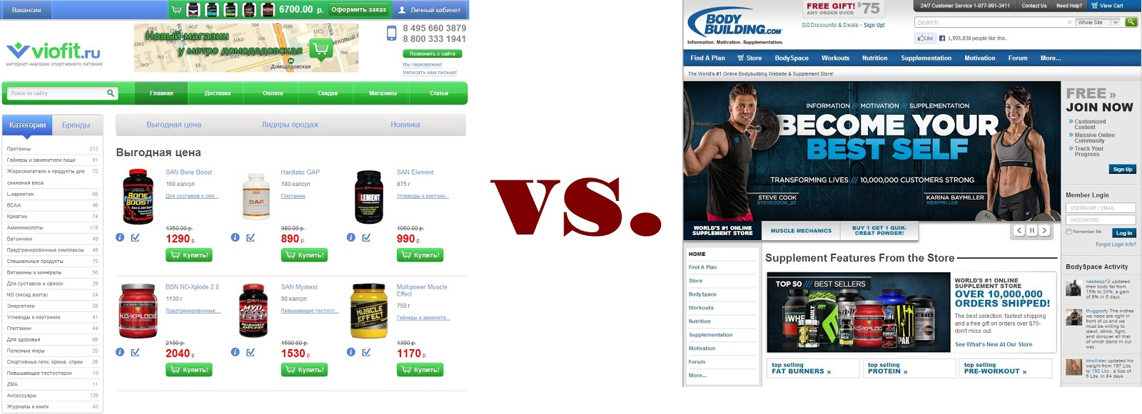 Сравнение цен viofit.ru и bodybuilding.com