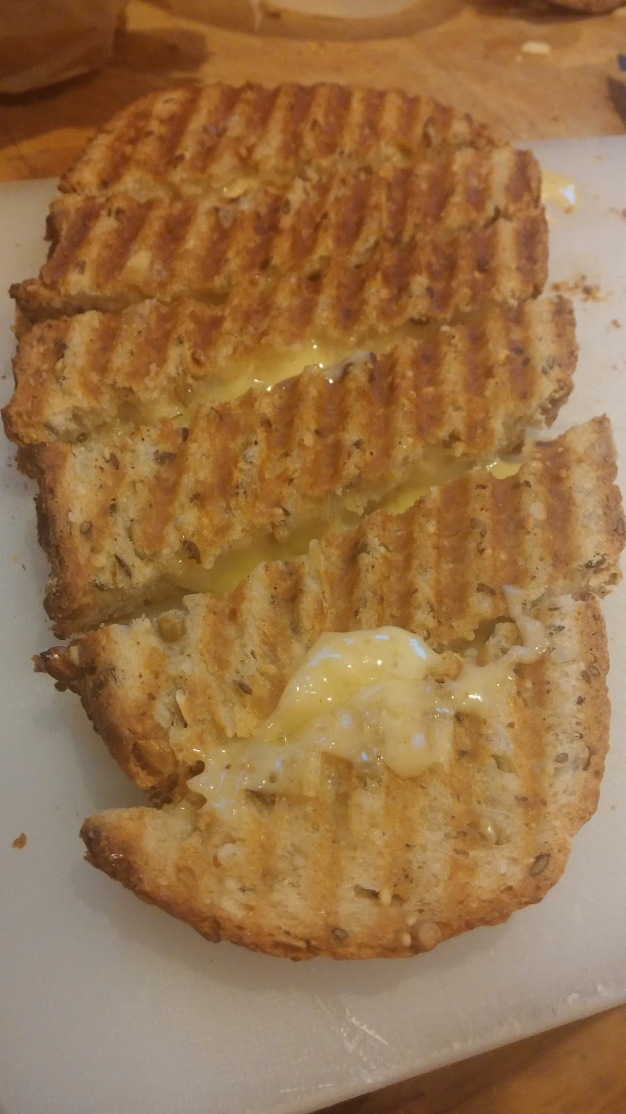farmhouse bread with three types of local sussex cheese grilled to perfection