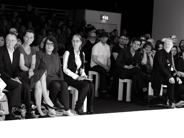 Caryn Franklin with editors on the front row at graduate fashion week