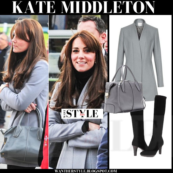 Kate Middleton in grey fitted wool Reiss Delaney coat what she wore