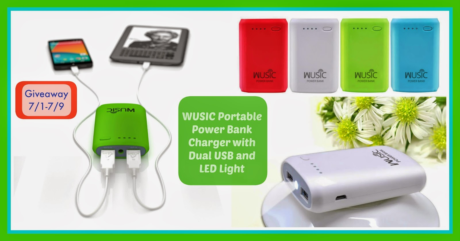 WUSIC Portable Power Bank Charger with Dual USB and LED Light Giveaway