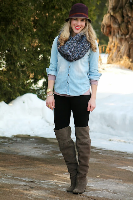 Chambray, black jeans, and cozy scarf