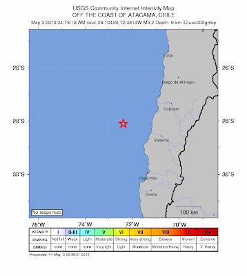 Epicentro sismo 5,2 grados frente a la costa de Atacama, Chile