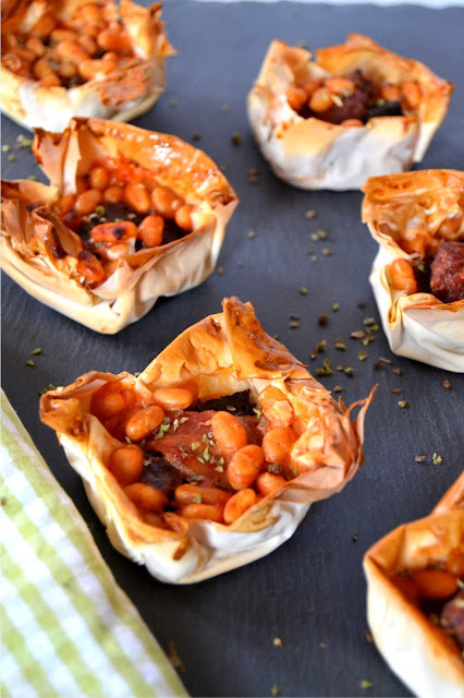 all-day breakfast bites in filo pastry