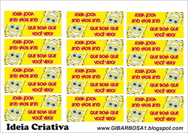 Rótulo para Mini Garrafinhas Bob Esponja