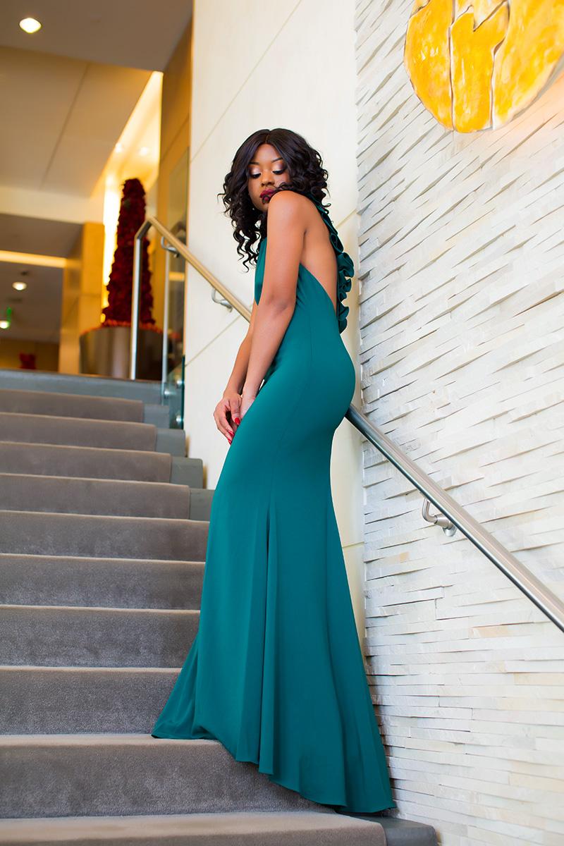Badgley Mischka ruffle back gown, maxi dress, www.jadore-fashion.com