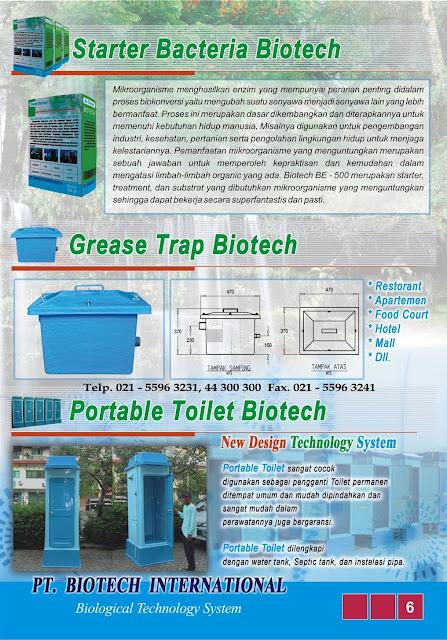 brosur septic tank biotech, katalog, brochure, sepiteng biotek, portable toilet fibreglass. BACTERIA POWDER, BUBUK BAKTERI PENGURAI, GREASE TRAP FRP