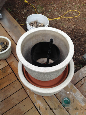 Step Six A of building a plant pot water fountain
