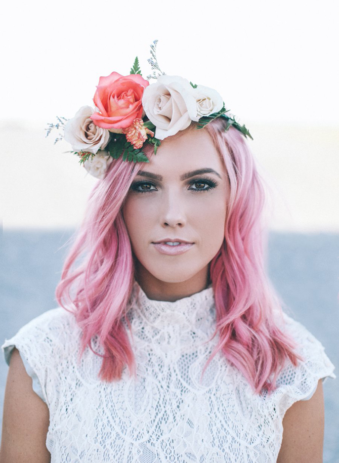 Wedding pretty pink flower child the pretty crusades flowers to the dress and makeup not to mention the pop of color against the barren landscape back to dreaming of pink hair and desert evenings from a mightylinksfo