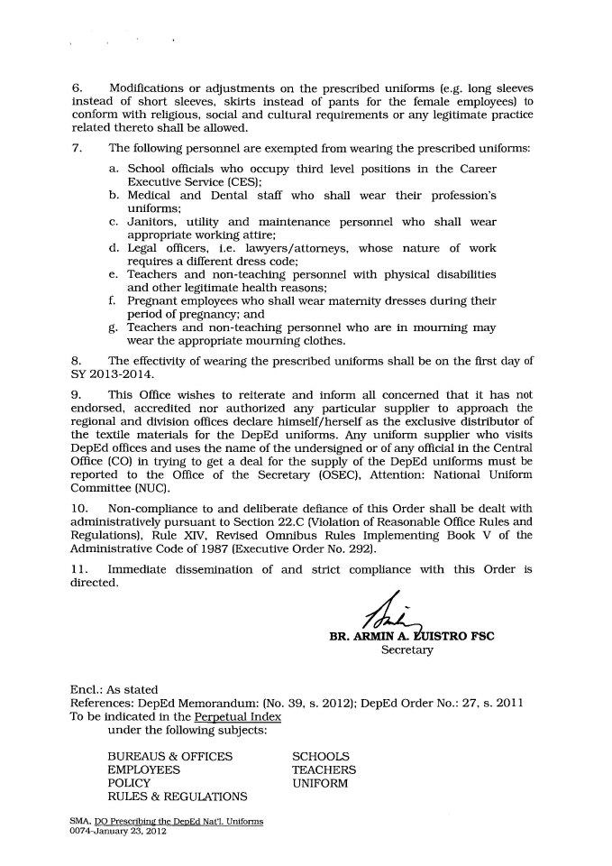DepEd Memos and Orders 2014