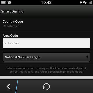 set kode negara Blackberry