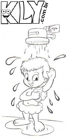desenhos para colorir de banho higiene corporal desenhos para