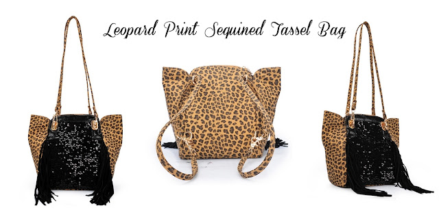 Leopard Print Sequined Tassel Bag