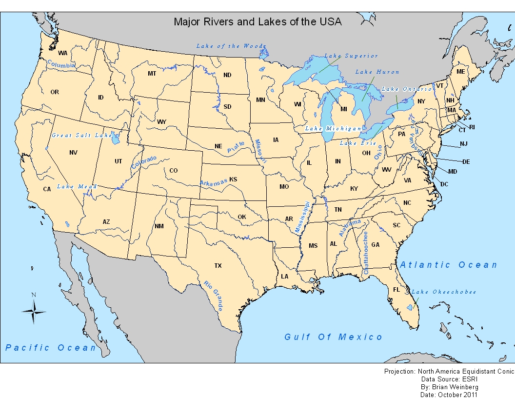 the maps above are from lab 4 of ggs 310 the maps show the us one map shows the rivers and lakes while the other map is a grayscale of the us