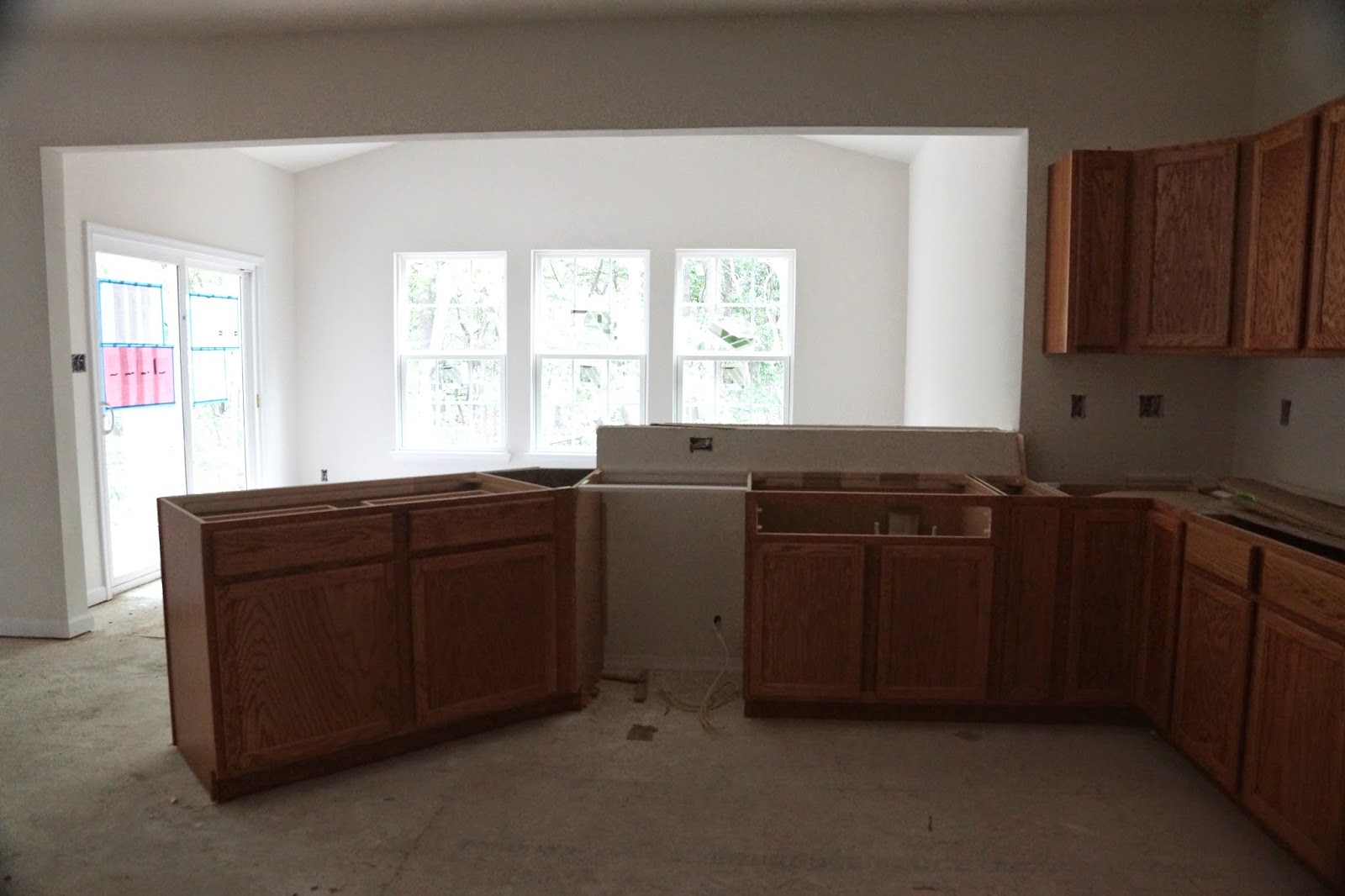 Picture of the kitchen cabinets with gourmet island before the counter is installed