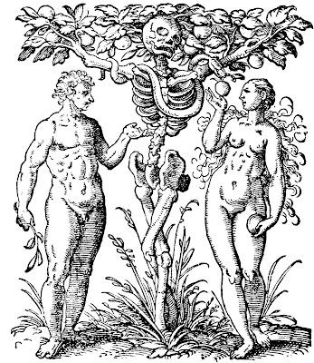 Adam, Ève, jardin d'Eden, paradis terrestre, paradis perdu, fruit, serpent, squelette, homme nu, femme nue
