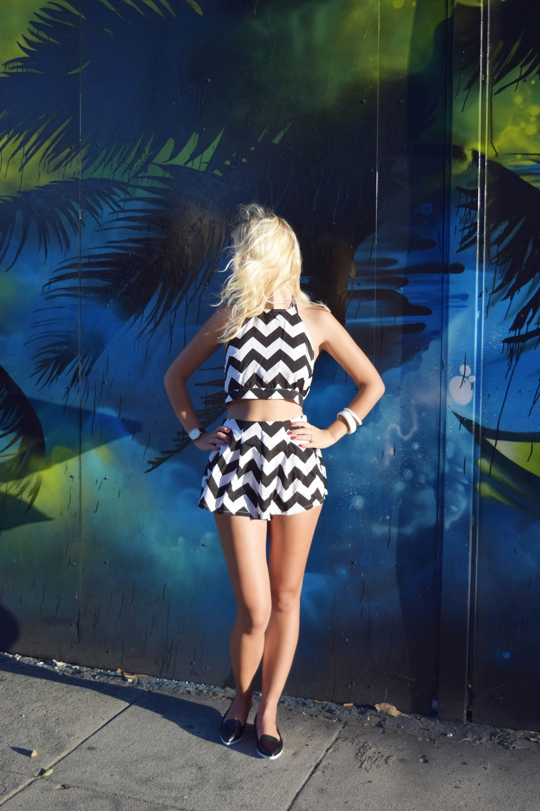 2-piece chevron print, choies, black and white