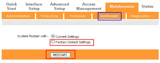 Reset factory default setting