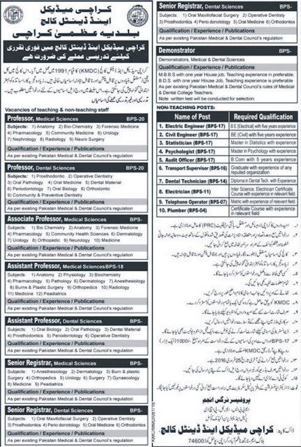 Doctors & Admin Jobs at Karachi Medical and Dental College Jobs