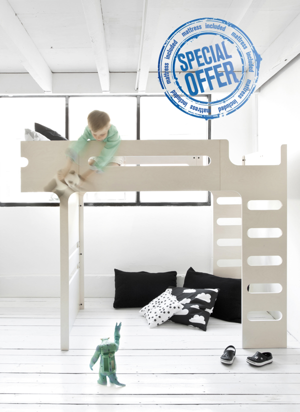 modern bunk bed white  køjeseng