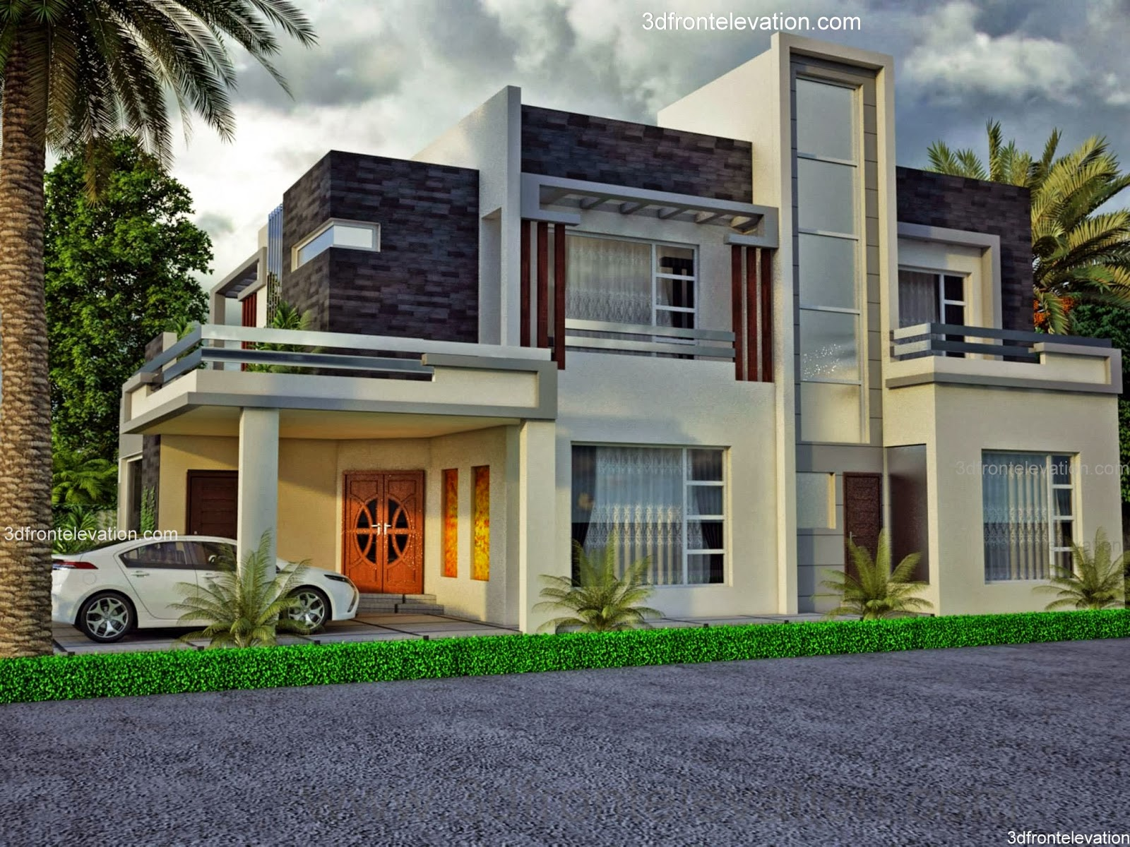 3d front 1 kanal10 marla beautiful house pictures front elevation pakistan - Beautiful design of a house ...