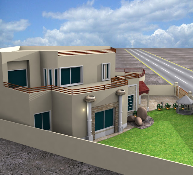3d front traditional house plans with for One kanal house plan